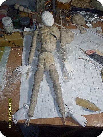 Куклы Мастер-класс Лепка Шарнирная кукла Формируем тело Руки и ноги Бумага Клей Пластика фото 10