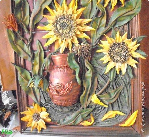 Картина панно рисунок Фантазийные подсолнухи Кожа фото 6