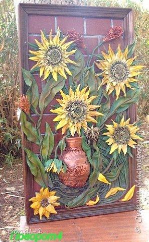 Картина панно рисунок Фантазийные подсолнухи Кожа фото 4