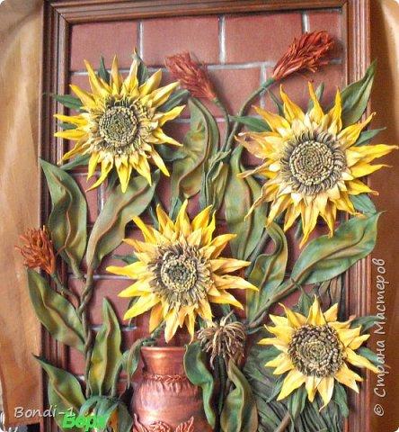 Картина панно рисунок Фантазийные подсолнухи Кожа фото 5