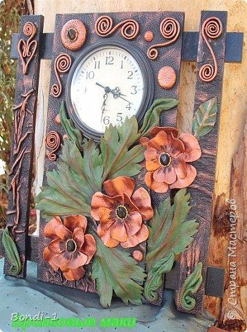 Интерьер Картина панно рисунок Бронзовые маки - 2 Кожа фото 2