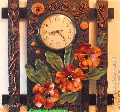 Интерьер Картина панно рисунок Бронзовые маки - 2 Кожа фото 5