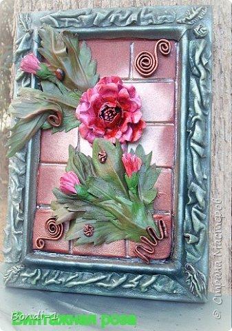 Картина панно рисунок Моделирование конструирование Винтажная роза Кожа фото 2