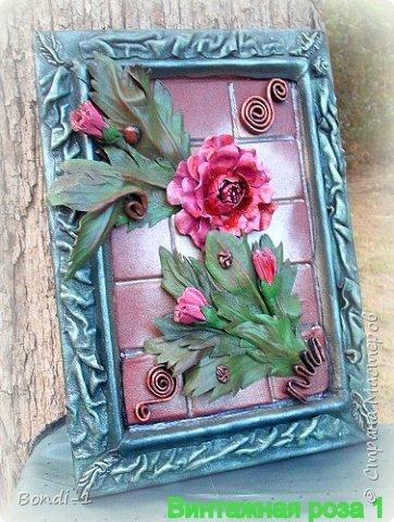 Картина панно рисунок Моделирование конструирование Винтажная роза Кожа фото 3