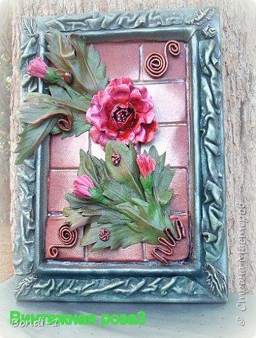 Картина панно рисунок Моделирование конструирование Винтажная роза Кожа фото 1