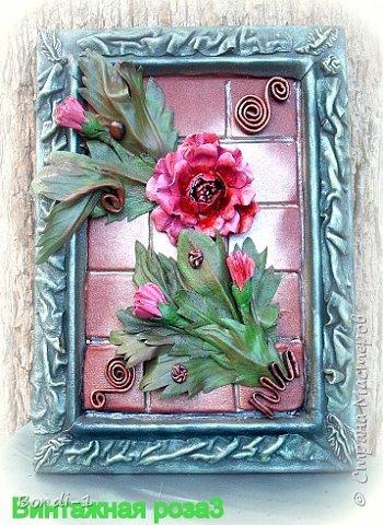 Картина панно рисунок Моделирование конструирование Винтажная роза Кожа фото 4