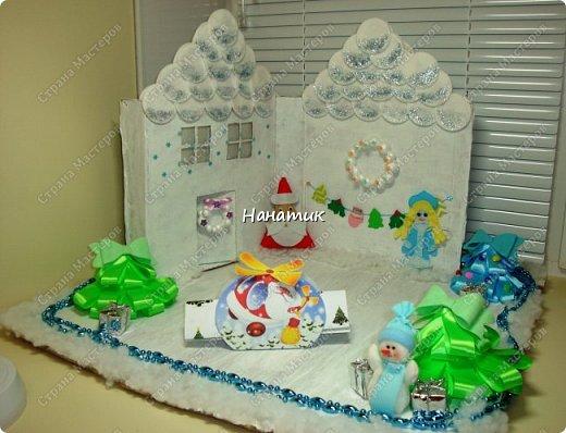 Доброй ночи! Такой домик сделала для дочурки вместо адвент-календаря. Каждый день на этой снежной полянке Алиночка будет получать письма с заданиями, играми и небольшие презенты от деда Мороза. НГ - это время чудес и ожиданий!!!<br /> Текста и фото будет много)<br /> Итаксссс начнемсссс) фото 1