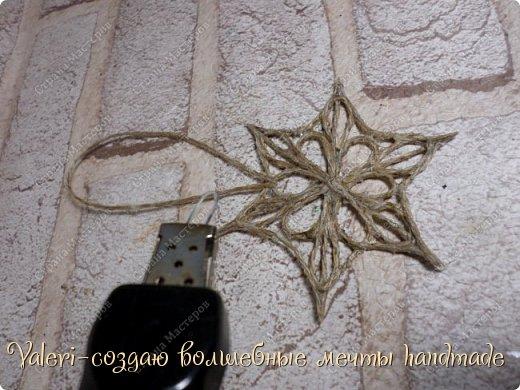 Мастер-класс Поделка изделие Новый год Моделирование конструирование Снежинки шпагатные Бусины Клей Краска Шпагат фото 12