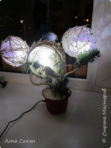 Поделка изделие Новый год Моделирование конструирование Светильник Новогодняя сказка Бусины Шпагат фото 1