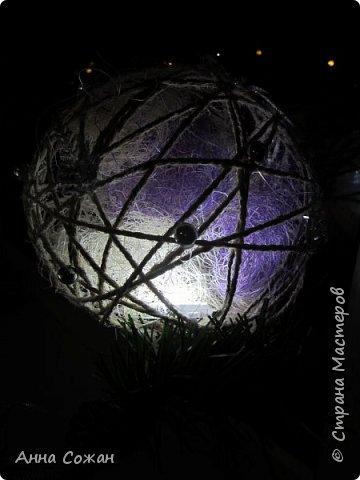 Поделка изделие Новый год Моделирование конструирование Светильник Новогодняя сказка Бусины Шпагат фото 5