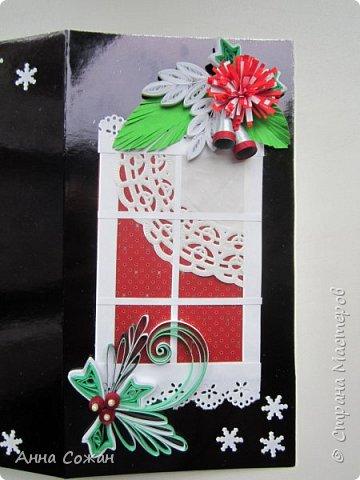 Открытка Новый год Квиллинг Предновогоднее настроение  Бумажные полосы Бусины Картон фото 3