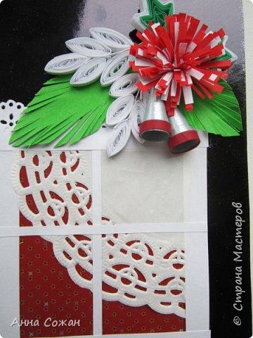 Открытка Новый год Квиллинг Предновогоднее настроение  Бумажные полосы Бусины Картон фото 4