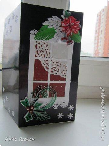 Открытка Новый год Квиллинг Предновогоднее настроение  Бумажные полосы Бусины Картон фото 5
