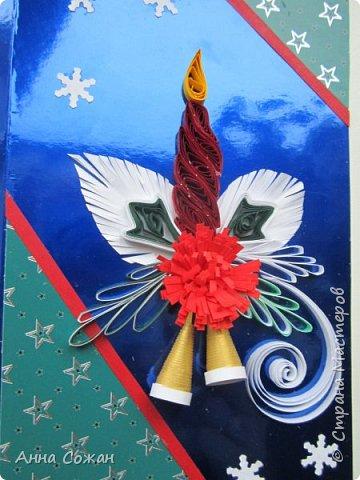 Открытка Новый год Квиллинг Предновогоднее настроение  Бумажные полосы Бусины Картон фото 8