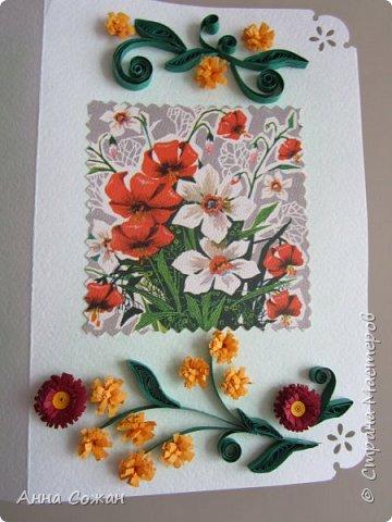 """Добрый день друзья! Хочу показать Вам несколько вариантов открыток, которые сделали мы к  8 марта  с моими учениками в студии """"Бумажные фантазии"""". У меня  нашлось несколько старых открыток с 8 марта. Мы использовали их в качестве аппликации и дополнили цветами из квиллинга и  модными платьями.  фото 9"""