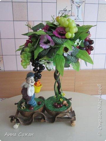 """Всем привет! Виноградный топиарий! Ура, свершилось! Идея виноградного топиария зрела давно, всё началось с фигурки забавного грузина, которого купила в переходе у бабульки. Фигурку отмыла, отреставрировала и стала думать как и что сделать к нему. Моё знакомство на Ярмарке Мастеров с Еленой Нечаевой, мастером от Бога, мою мечту приближало """"Надышавшись"""" её творческой атмосферой https://vk.com/podarki_sanctpeterburg напросившись к ней на мастер-класс я взялась за работу! Леночка спасибо большое, учла все твои замечания! Я довольна результатом! Топиарий сделала сестре в подарок! фото 15"""