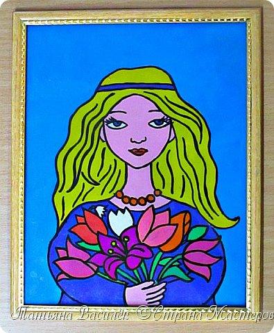 &quot;Цветы для Мамочки&quot; (обратная аппликация пластилином).<br /> Работа для конкурса к Дню Матери, выполненная одним из наших воспитанников. фото 1